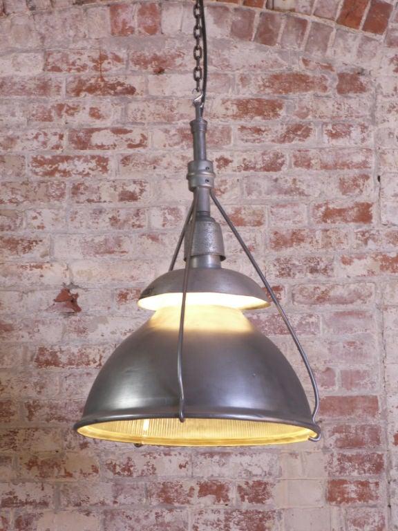 Vintage Metal & Glass Ceiling Holophane Light.  (Similar sizes available.)