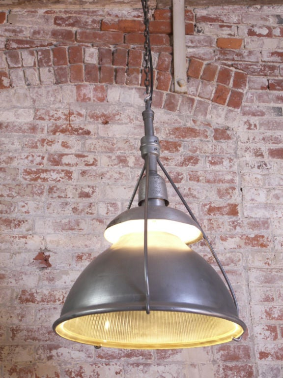 Industrial Vintage Metal and Glass Hanging Holophane Light In Good Condition For Sale In Oakville, CT