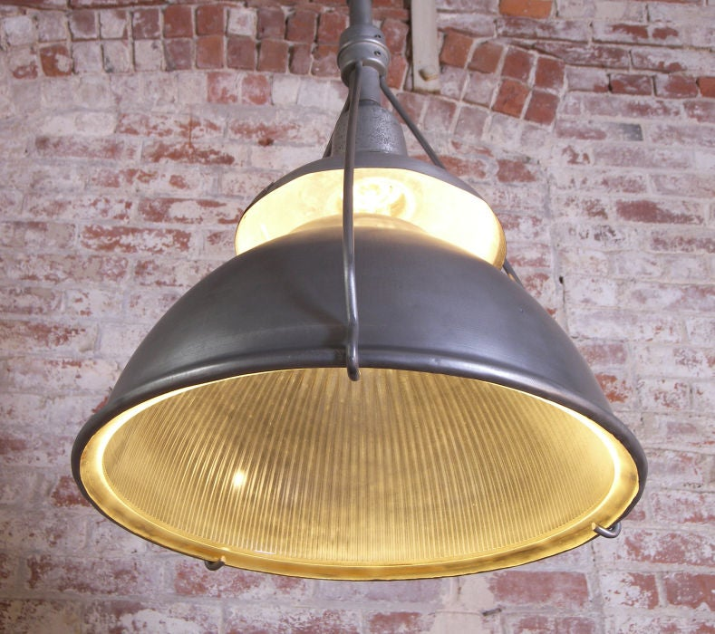 20th Century Industrial Vintage Metal and Glass Hanging Holophane Light For Sale