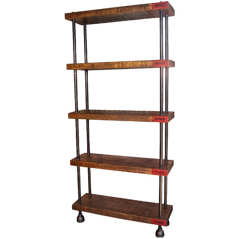 Industrial Shelving Storage Unit - Wood, Steel Pipe Cast Iron