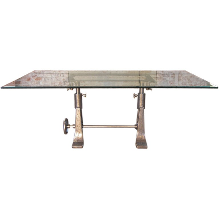 Vintage industrial cast iron glass adjustable desk table base - Table basse ajustable ...