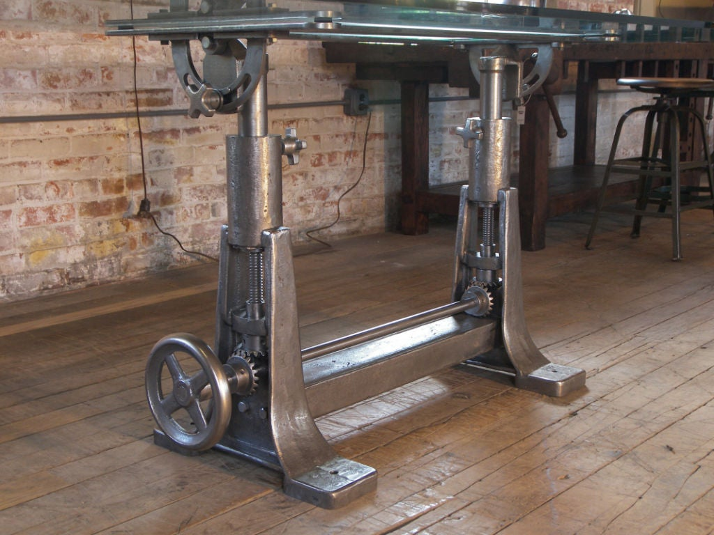 Vintage Industrial Cast Iron And Glass Adjustable Desk