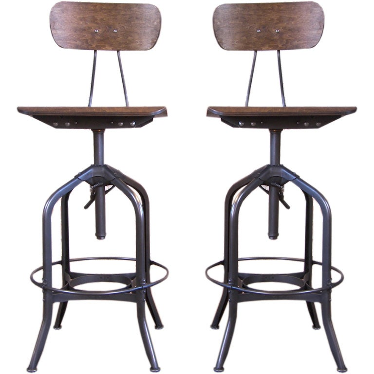 Pair Of Metal And Wood Bent Plywood Toledo Bar Stools At