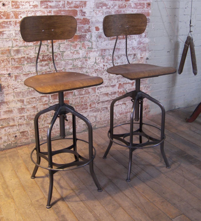 Pair Of Metal And Wood Bent Plywood Toledo Bar Stools At