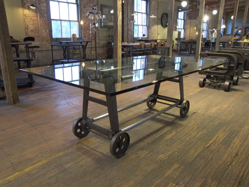 Vintage industrial cast iron steel glass dining for Cast iron table legs for sale