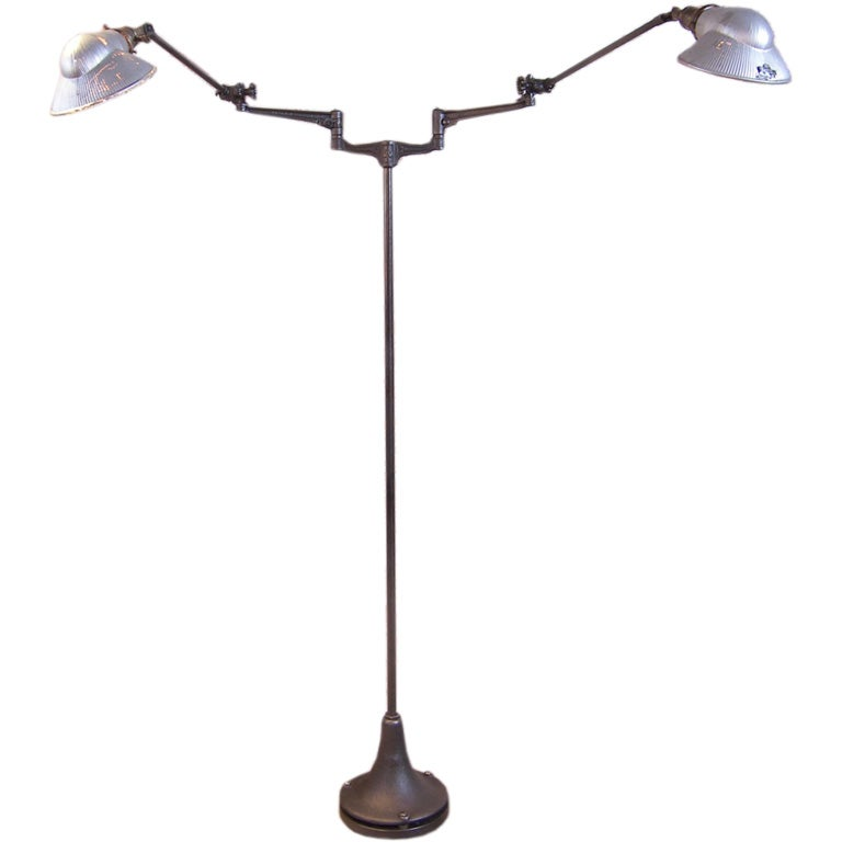 Double Arm Floor Lamp, Reading, Task Light with Mercury Glass Shades