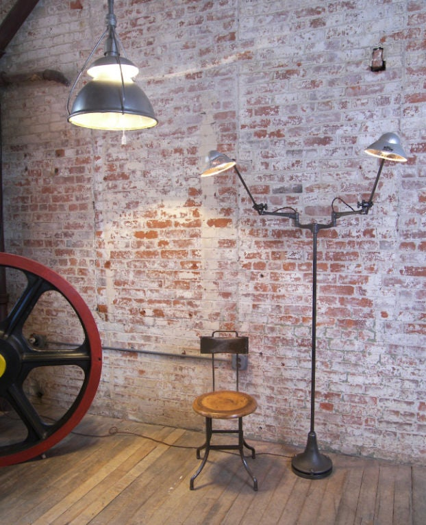 Industrial Double Arm Floor Lamp, Reading, Task Light with Mercury Glass Shades 10