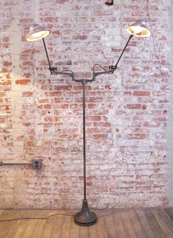 Industrial Double Arm Floor Lamp, Reading, Task Light with Mercury Glass Shades 2