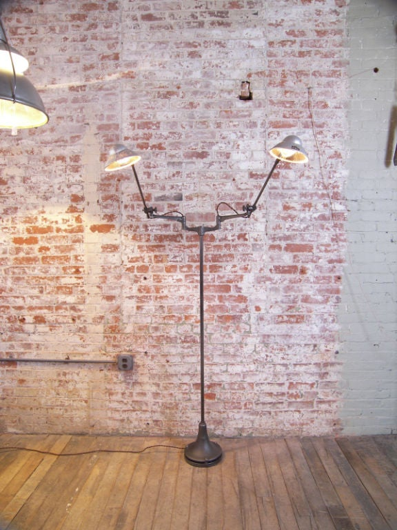 Industrial Double Arm Floor Lamp, Reading, Task Light with Mercury Glass Shades 3