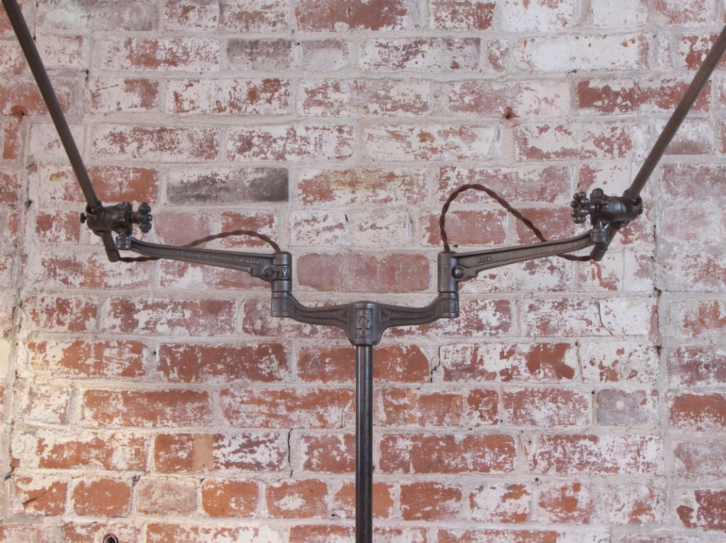 Industrial Double Arm Floor Lamp, Reading, Task Light with Mercury Glass Shades 4