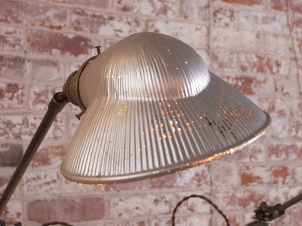 Industrial Double Arm Floor Lamp, Reading, Task Light with Mercury Glass Shades 6