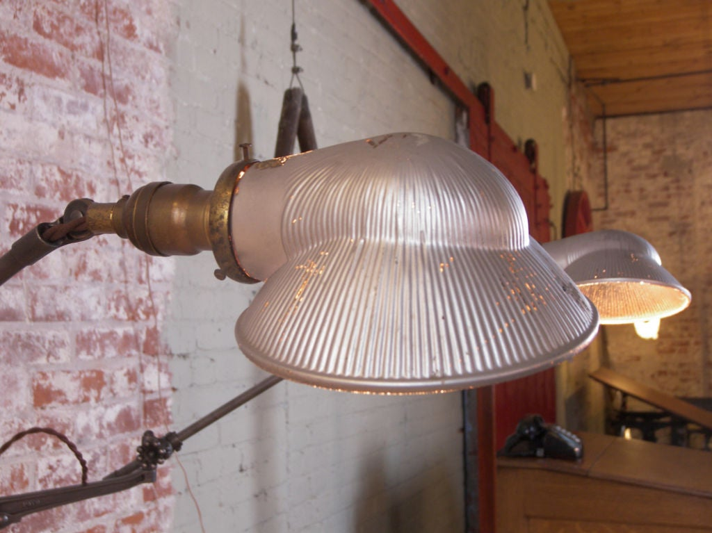Industrial Double Arm Floor Lamp, Reading, Task Light with Mercury Glass Shades 7