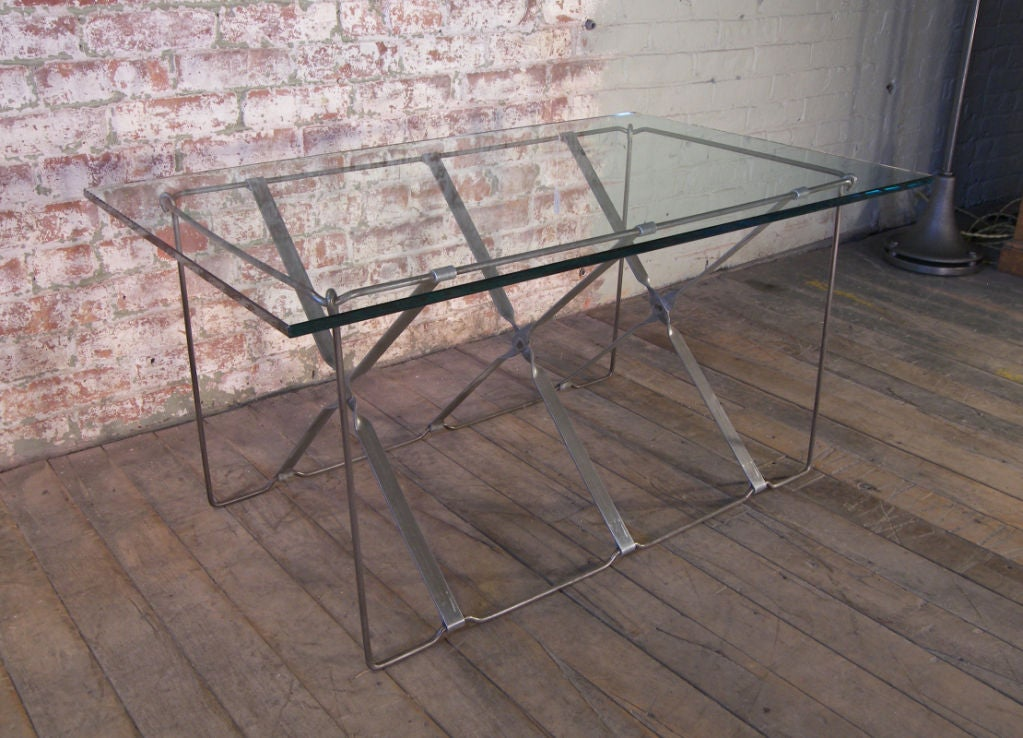"Mid-Century Modern vintage Industrial metal side or end table base. (Glass is for display purposes only). The base measures 33 3/4"" x 19"" x 18 1/2"" high, the piece of glass pictured measures 24"" x 39""."