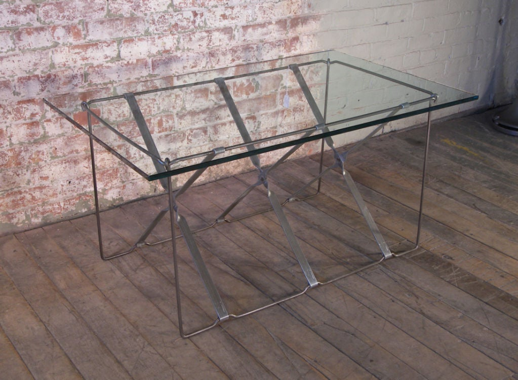 American Vintage Industrial Metal Side or End Table Base, Mid-Century Modern For Sale