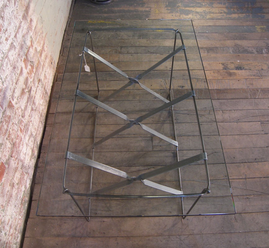 20th Century Vintage Industrial Metal Side or End Table Base, Mid-Century Modern For Sale