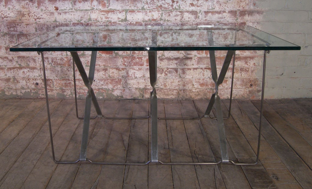 Vintage Industrial Metal Side or End Table Base, Mid-Century Modern For Sale 2