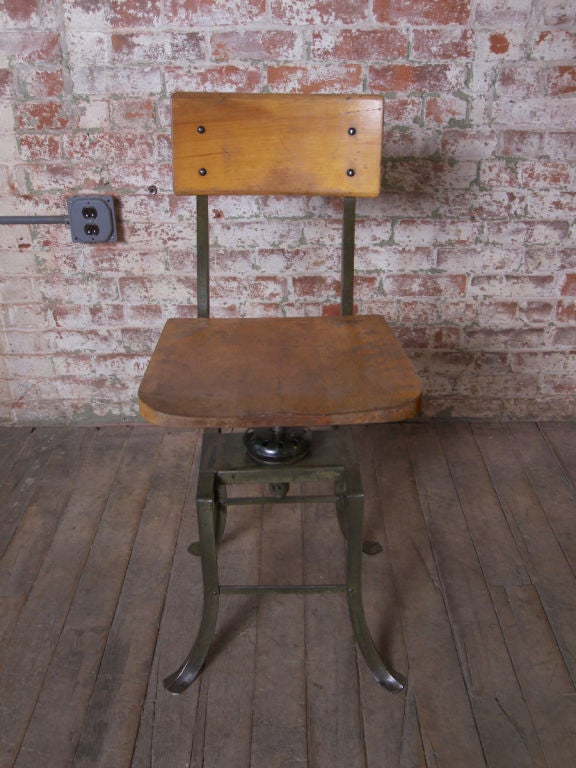 Vintage Industrial Adjustable Stool At 1stdibs