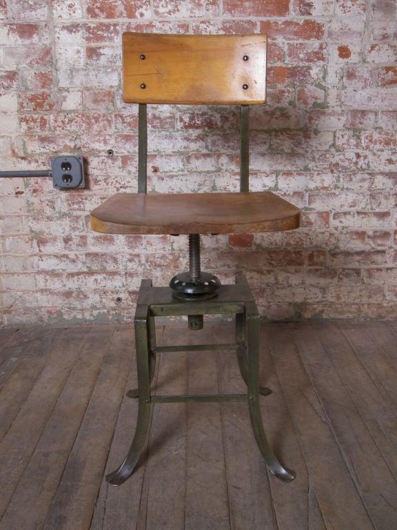 Vintage Industrial Adjustable Stool At 1stdibs