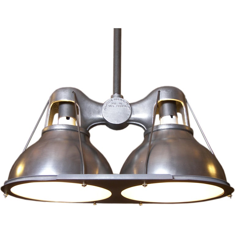 Vintage Industrial Double Holophane Light With Metal