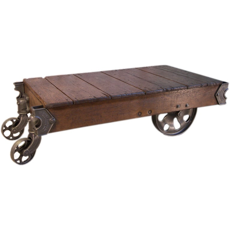 Old Industrial Cart Coffee Table: Vintage Industrial Cast Iron And Wood Rolling Table / Cart