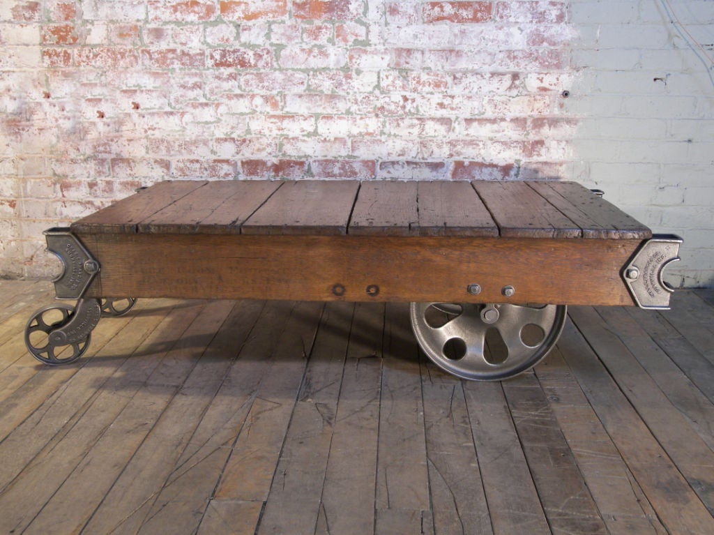 Vintage Industrial Cast Iron And Wood Rolling Table Cart