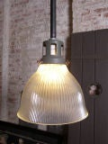 Vintage Industrial Glass Holophane Ceiling / Hanging Lamp thumbnail 2