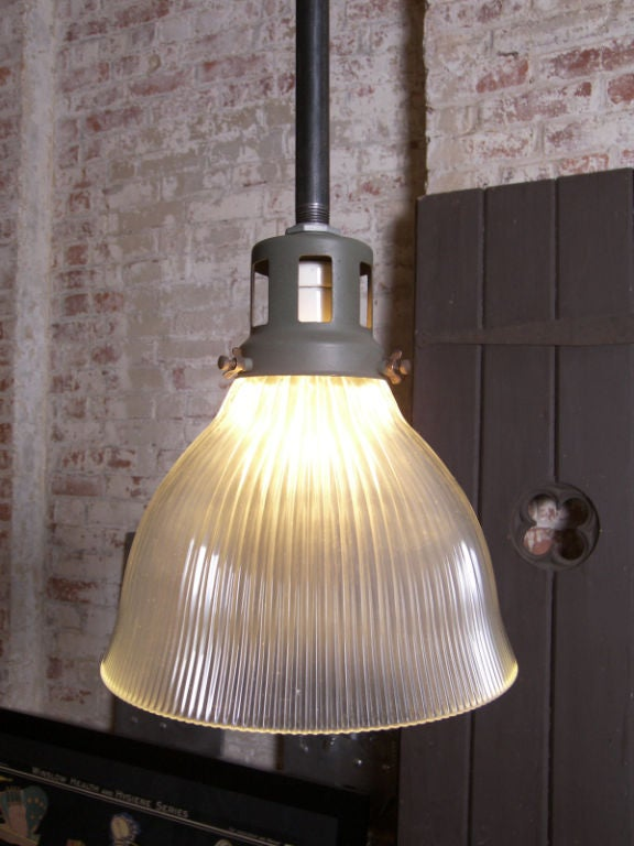 Vintage Industrial Glass Holophane Ceiling / Hanging Lamp image 2