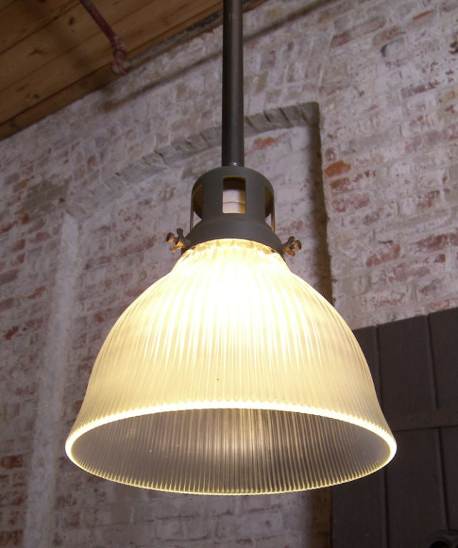 Vintage Industrial Glass Holophane Ceiling / Hanging Lamp image 3