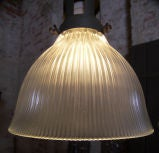 Vintage Industrial Glass Holophane Ceiling / Hanging Lamp thumbnail 5
