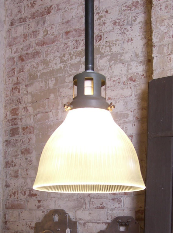 Vintage Industrial Glass Holophane Ceiling / Hanging Lamp image 6