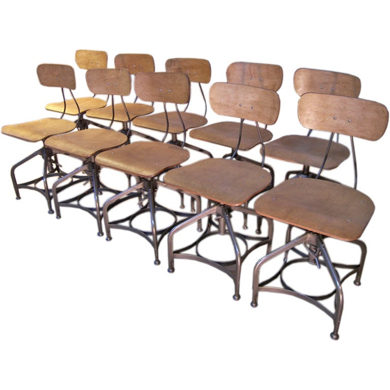 Set of 10 vintage bent plywood adjustable toledo chairs at 1stdibs