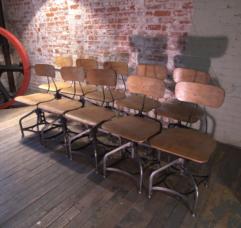Set Of Ten Vintage Bent Plywood Adjustable Toledo Chairs