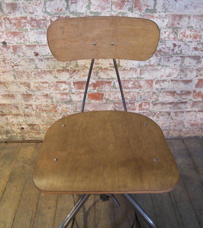 Set of 10 vintage bent plywood adjustable toledo chairs for sale at