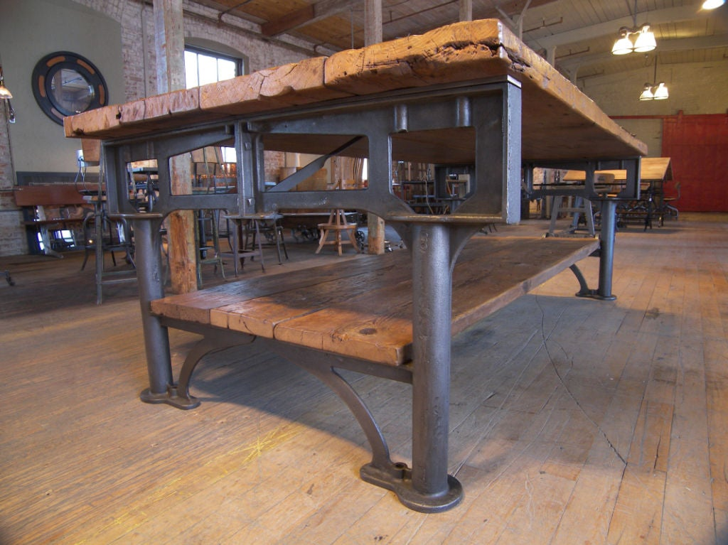 Vintage Industrial Cast Iron And Wood Display Work Bench