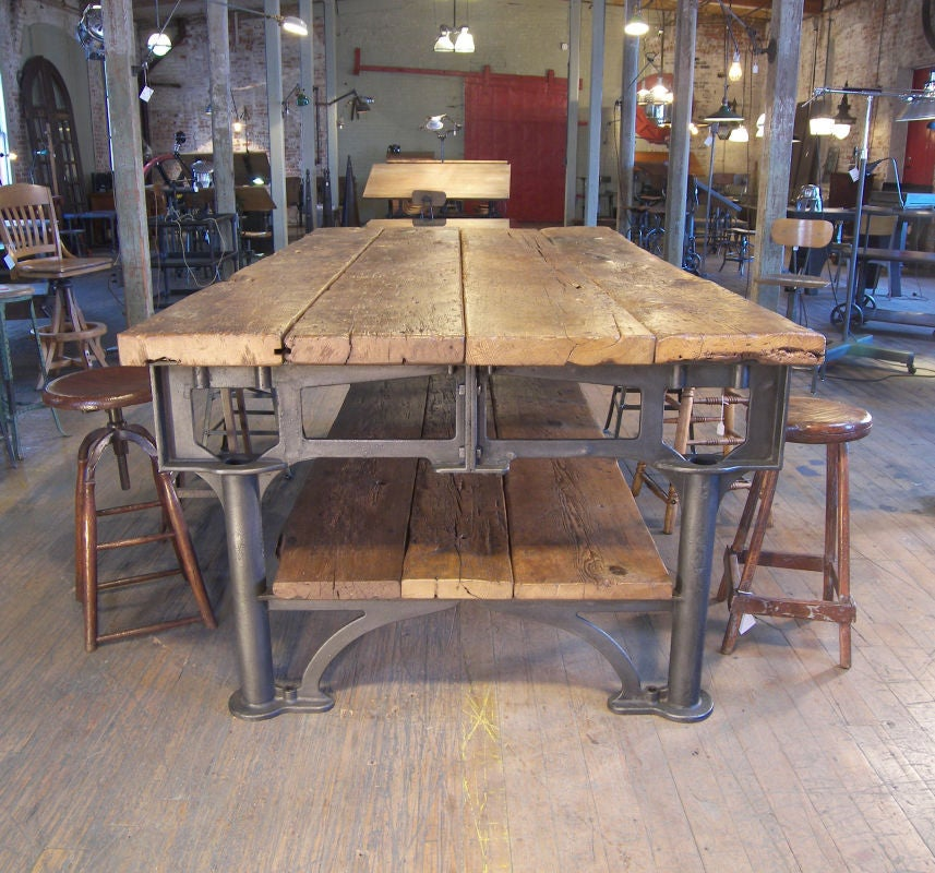 Vintage industrial cast iron and wood 9 39 display table at for Cast iron furniture legs for sale