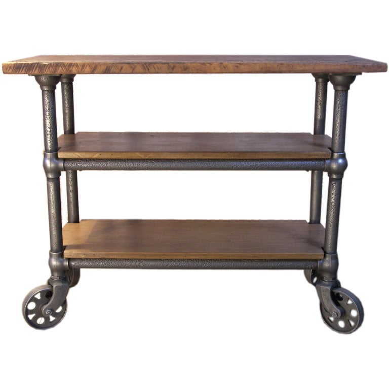 Industrial Rolling Kitchen Cart: Vintage Industrial Wood And Metal Roll Around Cart