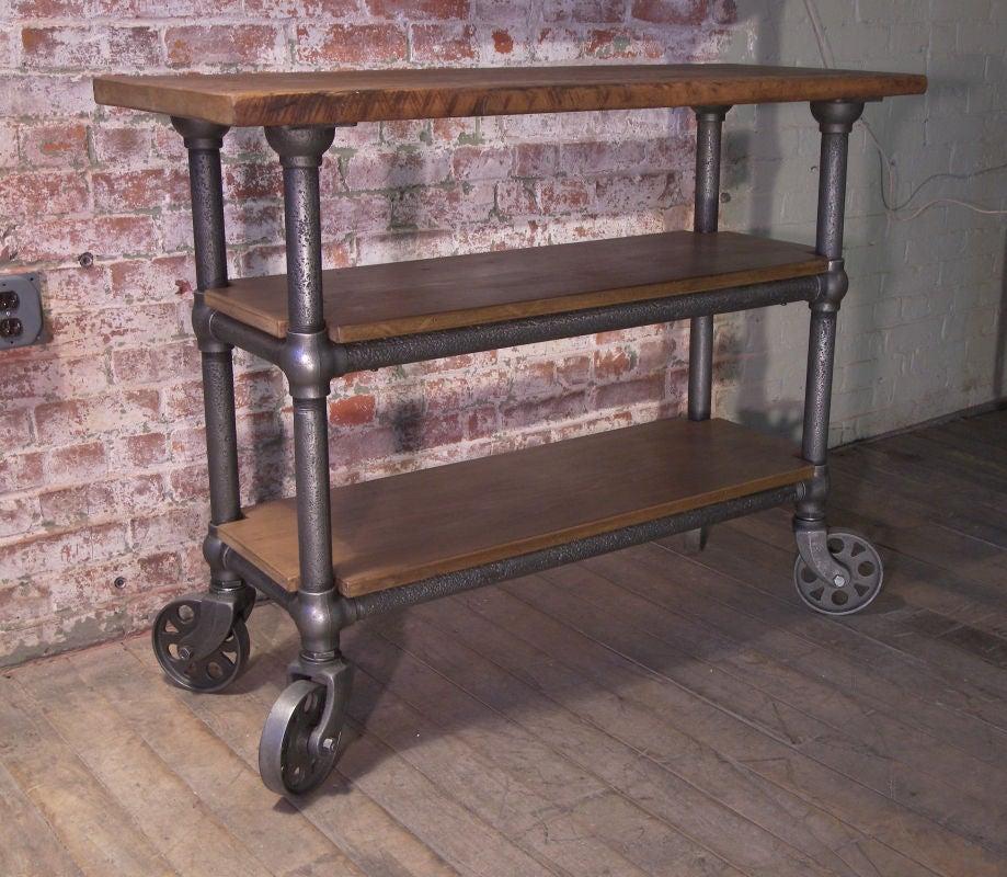 Vintage Industrial Wood And Metal Roll Around Cart