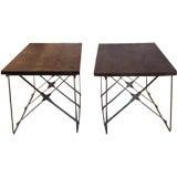 Vintage Industrial X Base Wood & Metal End Tables