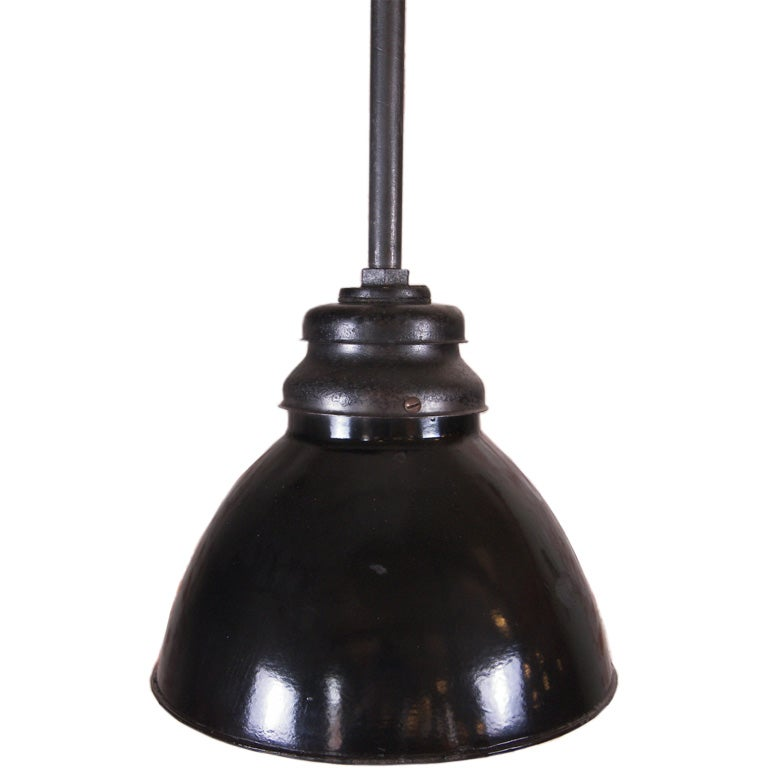 Pendant - Vintage Industrial Black Enamel Hanging Ceiling Lamp, Light