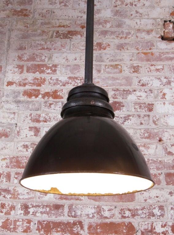 Vintage Industrial Black Enamel Hanging Ceiling Pendant Lamp Light For Sale At 1stdibs