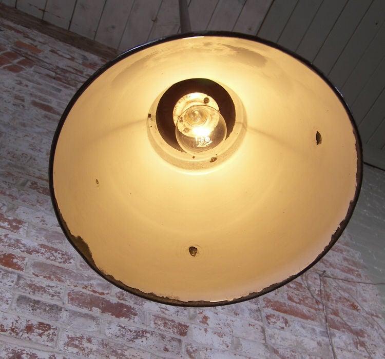 Vintage Enamel Ceiling Lights : Vintage industrial black enamel hanging ceiling pendant