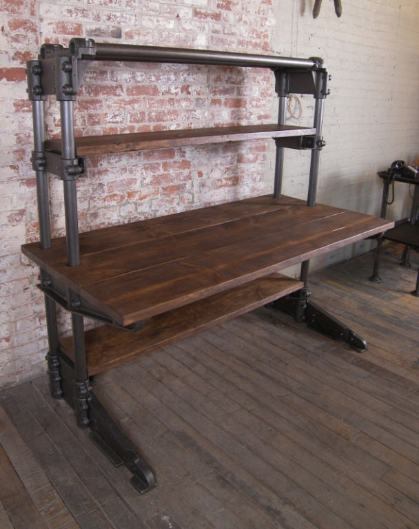 Vintage Industrial Cast Iron And Wood Workstation Desk