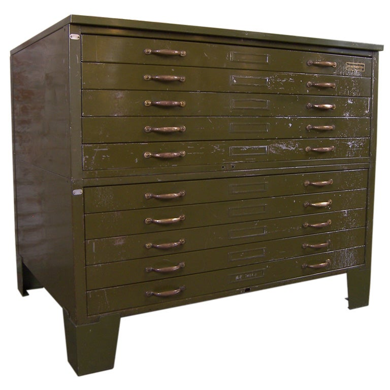 Vintage Industrial Metal Flat File Cabinet For Sale