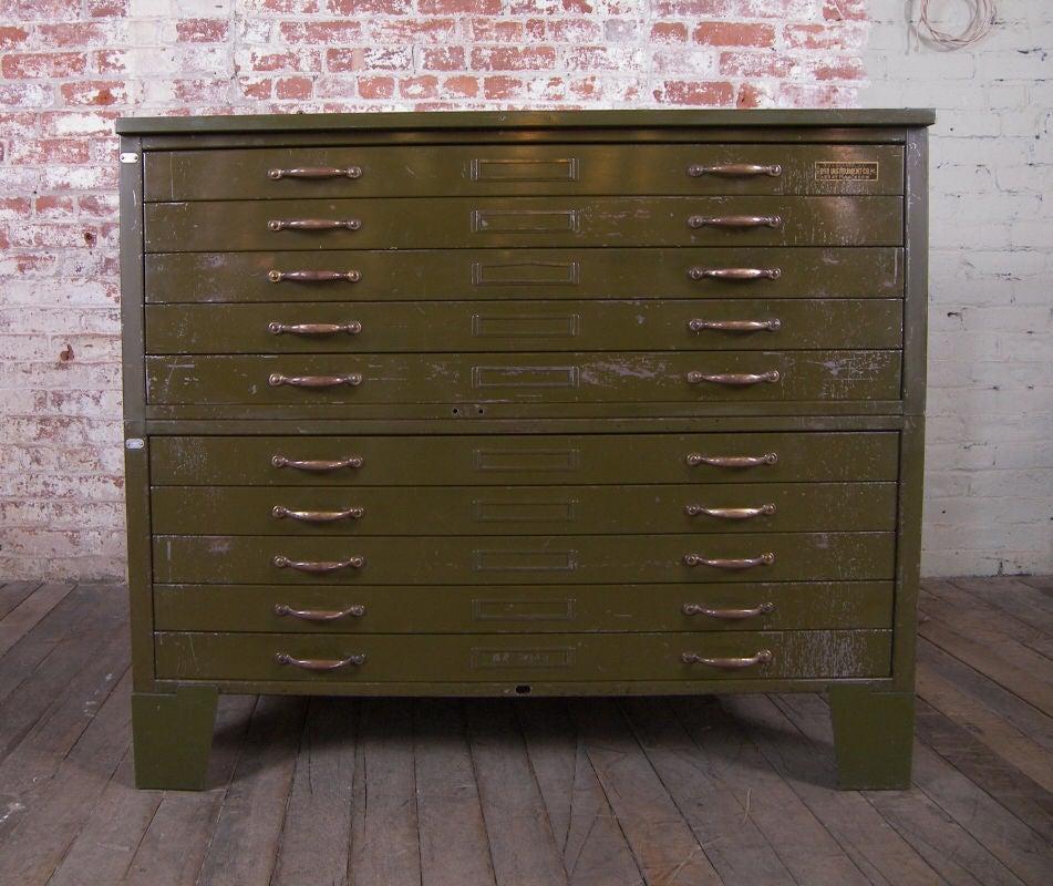 Simple Antique Oak Filing Cabinet With Original Brass Hardware At 1stdibs