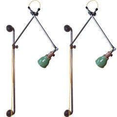 Pair of Vintage Industrial Adjustable Wall Lamps