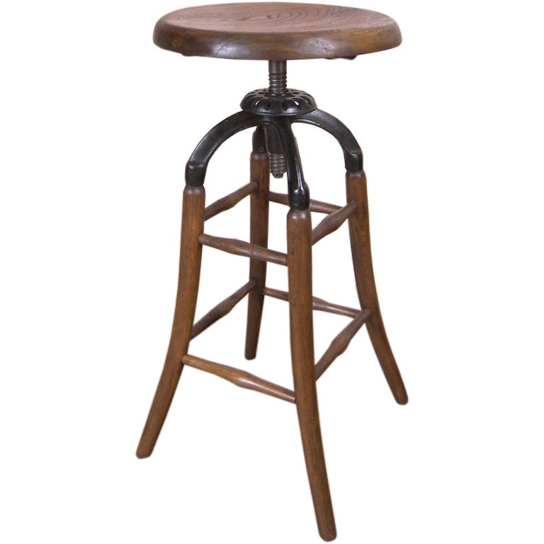 Vintage Industrial Wood & Cast Iron Adjustable Drafting Stool