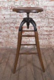 Vintage Industrial Wood & Cast Iron Adjustable Drafting Stool thumbnail 2