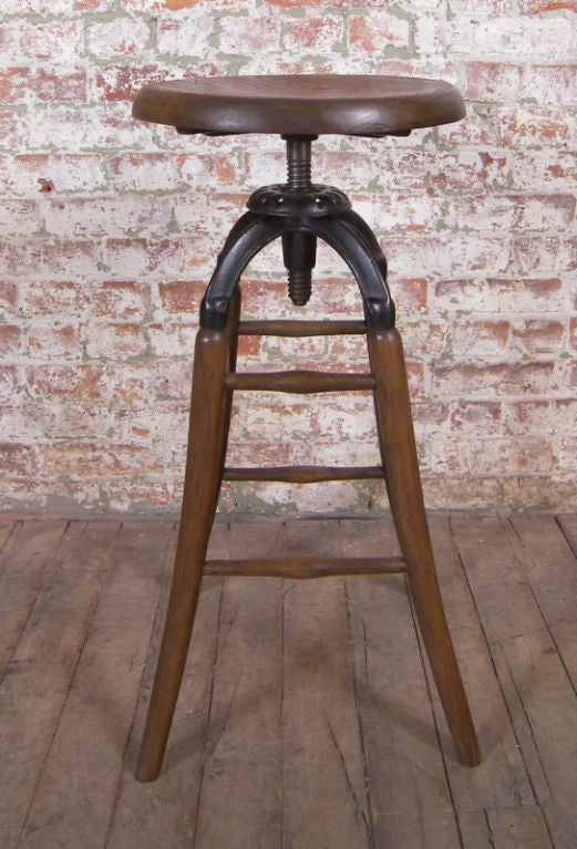 Vintage Industrial Wood & Cast Iron Adjustable Drafting Stool image 2
