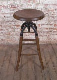 Vintage Industrial Wood & Cast Iron Adjustable Drafting Stool thumbnail 3