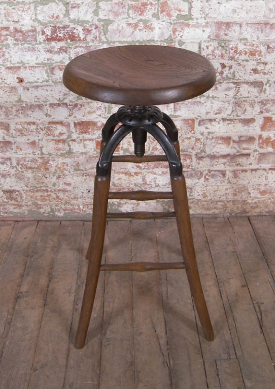 Vintage Industrial Wood & Cast Iron Adjustable Drafting Stool image 3